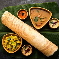 Dosa ghee roast with Kerala-style sambar