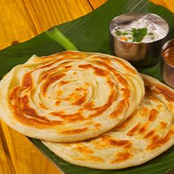 Erachi varutharacha curry with Malabar Parota